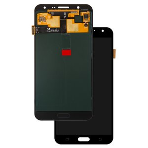 LCD compatible with Samsung J700 Galaxy J7, (black, with touchscreen, original (change glass) )