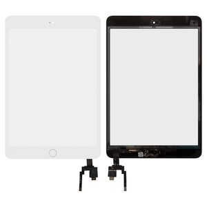 Touchscreen compatible with Apple iPad Mini 3 Retina, (with IC, with HOME button, white)