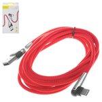 USB-кабели Baseus, USB тип-C, USB тип-A, 200 см, красный, с индикатором, для зарядки телефона, Г-образный, в нейлоновой оплетке, 2 А, #CATMVP-E09