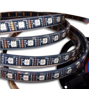 Світлодіодна стрічка RGB SMD5050, WS2813 (чорна, з управлінням, IP67, 5 В, 60 діодів/м, 5 м)